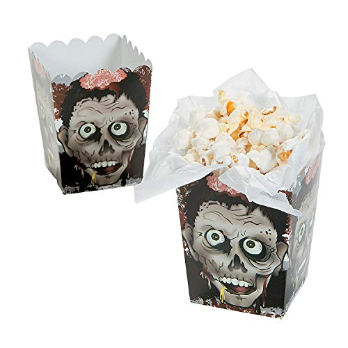 Fun Express - Mini Zombie Head Popcorn Boxes (24pc) for Halloween - Party Supplies - Containers & Boxes - Paper Boxes - Halloween - 24 Pieces -