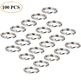 Hamosky 15mm 304 Stainless Steel Key Ring Key Chain Key Link Connector Pack of 100