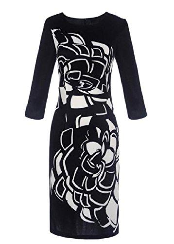 Long Sheath Dress Neck Sleeve Coolred Patterned Black O Women Pencil Skinny X867zwHwA