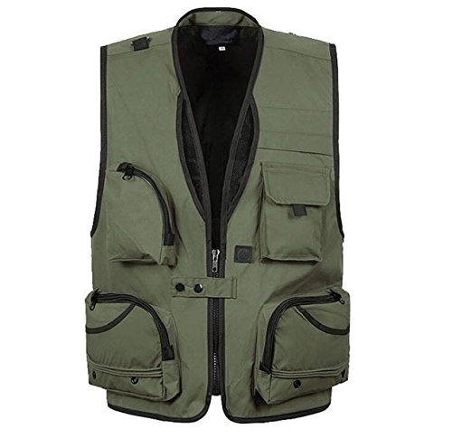 Herren Sportlich Schnell Trocknend Taktische Weste Multitasche Anglerweste Jacke Fotografie,Green-XL