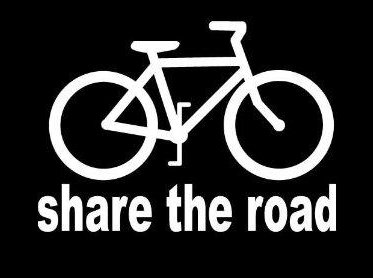 CCI Share The Road Bicycle Decal Vinyl Sticker|Cars Trucks Vans Walls Laptop| White |5.25 x 3.75 in|CCI1307