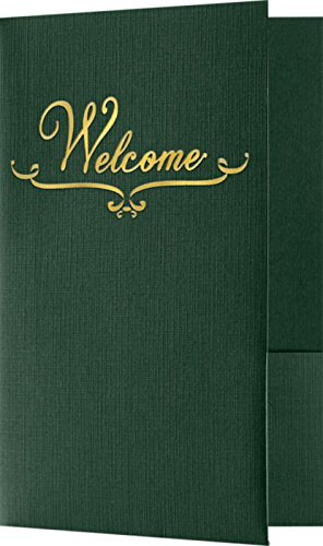 (Welcome Folders - Gold Foil Stamped Design - Dark Green Linen (25 Qty) | Perfect for Hotel Welcome Baskets, Wedding Programs, Simars, Brochures and so Much More! | Two Pockets | WEL-DDP100-GF-25)