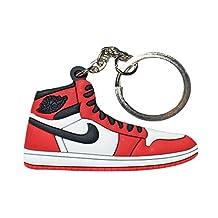 """Nike Jordan 1 Red Black White """"Chicago"""" 2D Flat Sneaker Keychain"""