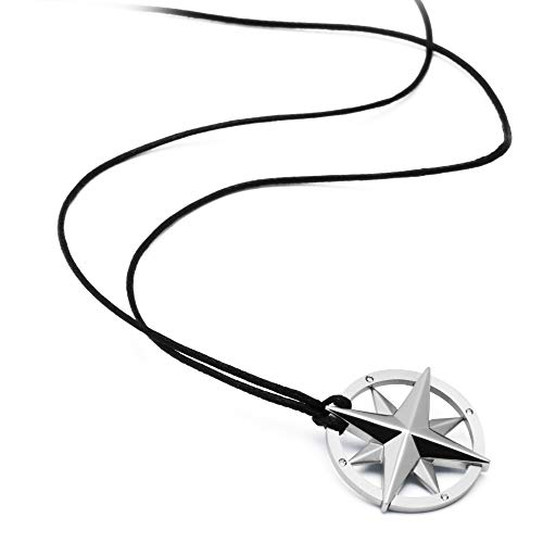 Brosway Mens NAUTICAL Necklace | Black Rope w/Stainless Steel Compass Rose Pendant