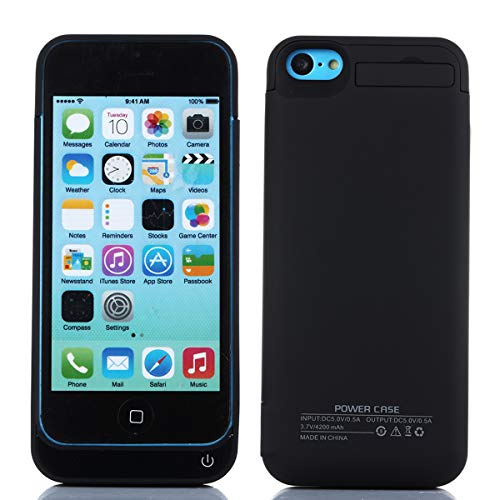 iPhone SE 5SE 5 5S 4200mAh Battery Charger Case, FugouSell Portable Rechargeable Extended Power Bank Backup External Juice Case Cover for iPhone SE 5SE 5 5S (Black) -  MB24-95-590