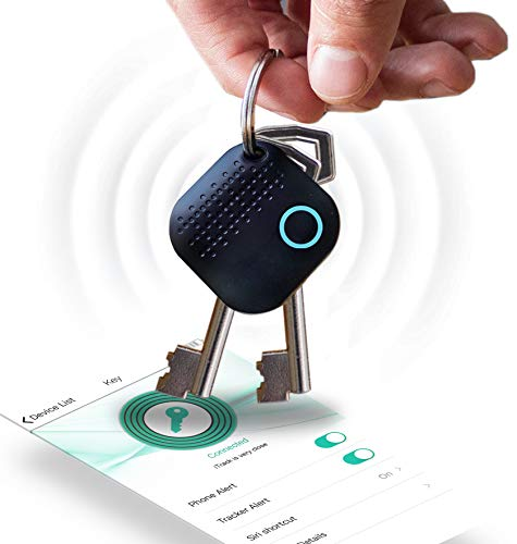 Mynoova Key Finder Smart Tracker, Tracking Device, Key Locator with App, Phone Finder Bluetooth Tracker, Replaceable Battery and App Control for Phone, Car Key, Wallet, Backpack, Luggage, Pet - Black