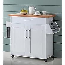 Hodedah HIKF78 Kitchen Island Cabinet, White
