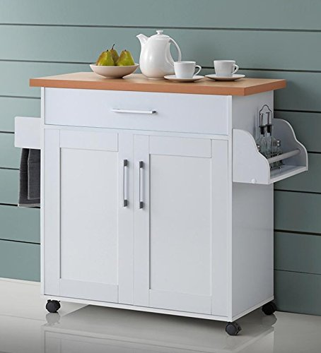 Hodedah Kitchen Island, White