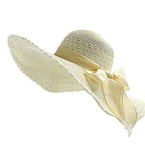 Qingsun Femme Chapeau de paille Plage Wide Brim Chapeau Idéal pour Vacances Nœud à Deux Boucles Dôme Bleu 1 PCS