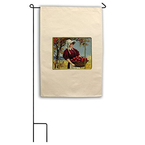 Canvas Garden Flag 18 X27  Lady Holding Apple Basket Holidays By Style In Print   Flag Only