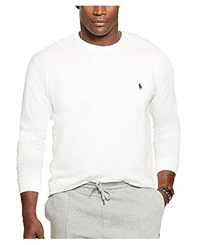 Lauren Long Sleeve Jersey - Polo Ralph Lauren Men's Long Sleeve Pony Logo T-Shirt - Large - White With Navy Pony
