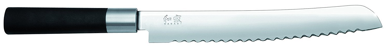 Kai Wasabi Series Luxury Chefs Knives Includes a 4-inch Paring Knife, 8-Inch Chef's Knife, 9-inch Bread Knife and 6-Inch Utility Knife, Black.