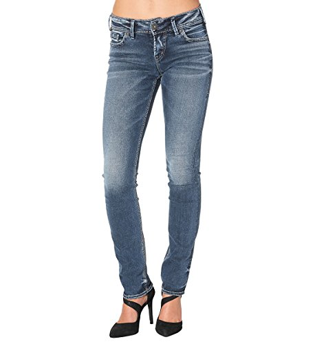Silver Jeans Women's Elyse Eased Curve-Fit Mid-Rise Straight-Leg Jean, Indigo, (Silver Jeans Embroidered Jeans)