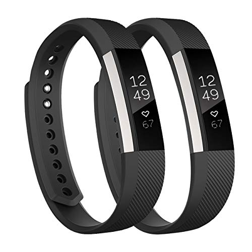 (Fundro Replacement Bands Compatible with Fitbit Alta Bands and Fitbit Alta HR Band, Newest Sport Strap Wristband with Secure Buckle(2- Pack, for Women Men Boys Girls (#A Black+Black, S))