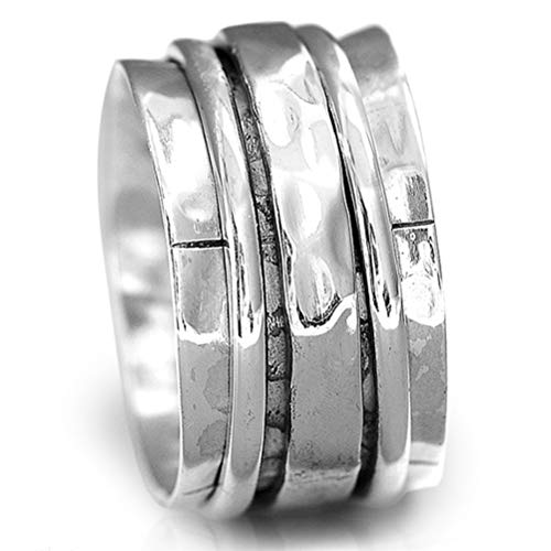 Boho-Magic 925 Sterling Silver Spinner Ring for Women | Hammered Spinning Ring | Wide Band Fidget Meditation Anxiety Relief | Statement Chunky Jewelry Size 5.5-11 (7.5)