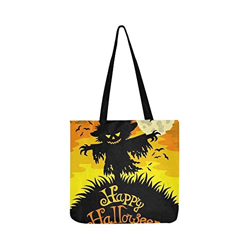 Happy Halloween Sign Scarecrow Canvas Tote Handbag Shoulder Bag Crossbody Bags Purses For Men And Women Shopping Tote
