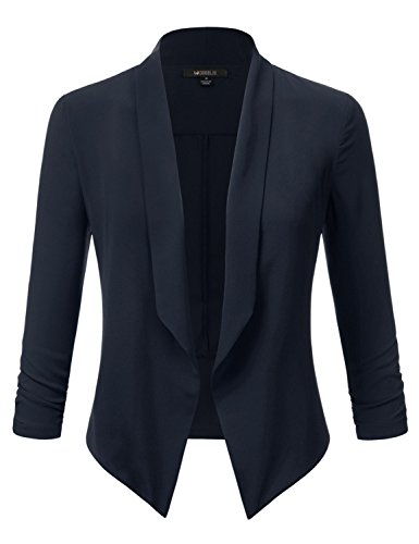 Doublju Solid & Printed Thin Lightweight Draped Open Front Blazer For Women With Plus size NAVY LARGE