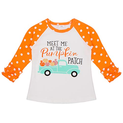Baby Toddler Girl Icing Ruffle Tops Unicorn Raglan T-Shirt Boutique Tee Soft Shirt Halloween Costume Birthday Clothes Orange Pumpkin 18-24 Months -