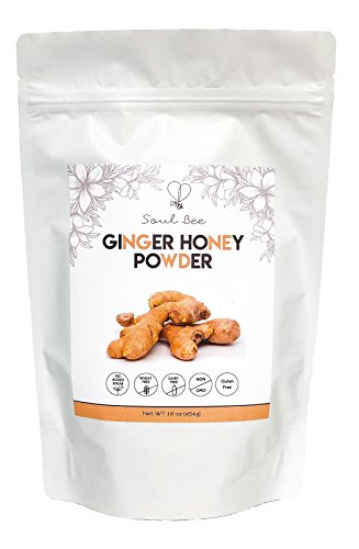 Ginger Honey - 1LB - Low Calories - Highest Natural Honey Powder and Ginger Root Quality - Gluten Free, Non-GMO, Soy Free, No Added Sugar - Superfood