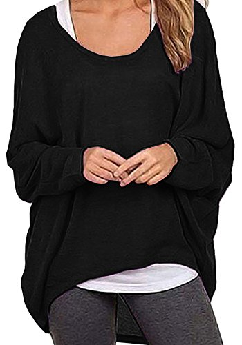 Black Sweater Top (Lyxinpf Women's Batwing Sleeve Knit Tops Casual Loose Oversized Shirts Off Shoulder Baggy Blouse Black S)