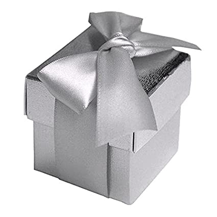 BalsaCircle 100 Silver Cute Wedding Favors Boxes With Lids For Party Birthday Candy Gifts Decorations Supplies Wholesale