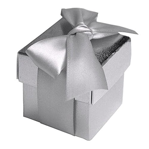 BalsaCircle 100 Silver Cute Wedding Favors Boxes with Lids for Wedding Party Birthday Candy Gifts Decorations Supplies Wholesale