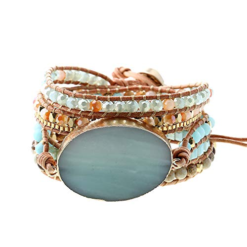 IUNIQUEEN Handmade Leather Wrap Natural Amazonite Druzy Bead Crystal Stone Bracelets for Women ()