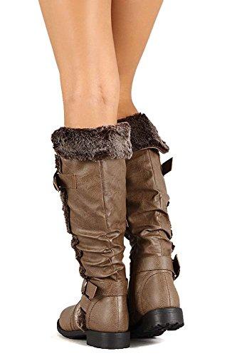 en Beige Funky en végétalien femmes fourrure genou poignets Bottes avec cuir pour Fourver au wdqaOw