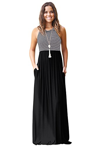 JOXJOZ Women's Sleeveless Racerback Loose Striped Maxi Dresses Casual Long Party Dresses with Pockets (Black, S) by JOXJOZ