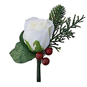 Winter Red Berry Ivory Rose Boutonniere – Christmas Formal- Silk Wedding Flower (red Berry)