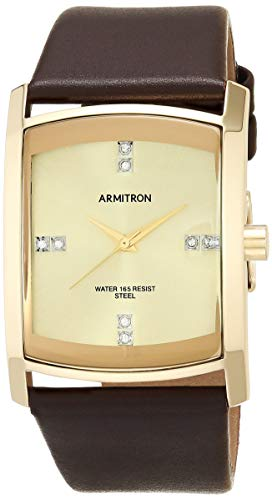 Armitron Men's Swarovski Crystal Accented Leather Strap Watch