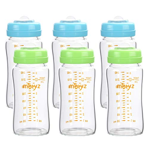 Matyz 6-Pack 8 Ounce Glass Breast Milk Storage Bottles (Green and Blue Lids) - Compatible with Spectra Medela Philips Breast Pumps - BPA Free - Wide Mouth Breastmilk Collection and Storage Containers