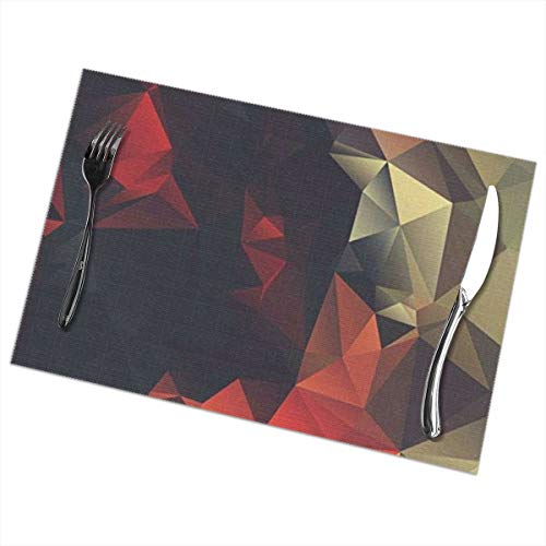 GGlooking Heat-Resistant Placemats 3D Diamond Pattern Dining Table Mats Washable Coasters Kitchen Pad Cup Plant Set of 6,12x18in