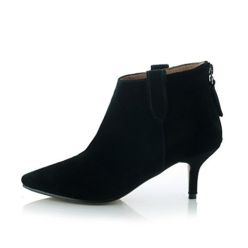 Toe Back Toe Zipper Women's Closed Heels Pointed Boots Black with Slipping Kitten and AmoonyFashion Sole A1UqExw