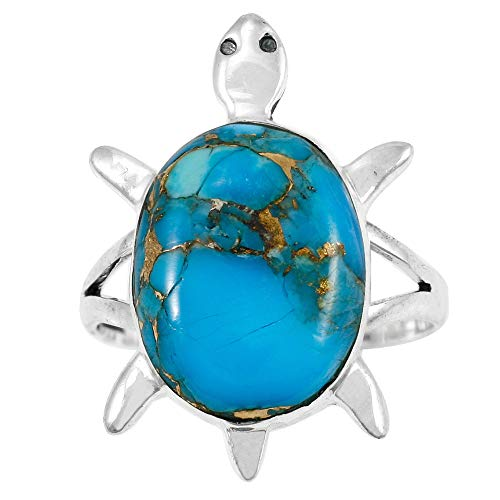 (Turtle Turquoise Ring Sterling Silver 925 Genuine Gemstones Size 6 to 11 (Choose Color) (Matrix Turquoise, 10))