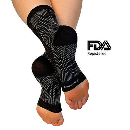 - Compression Magic (1 Pair Foot Sleeves - Sock Supports That Relieve Pain and Swelling in Feet and Ankles for Men and Women - Black Medium