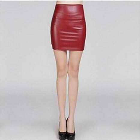 HEHEAB Falda,Las Mujeres De Moda De Verano Rojo Cuero Sexy Falda ...