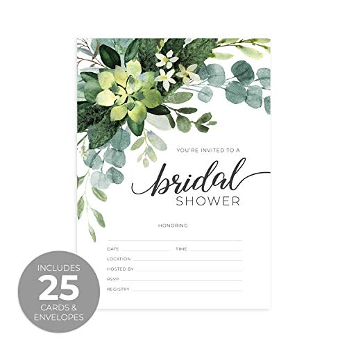 Greenery Fill in The Blank Bridal Shower Invitation / 25 Bridal Shower Invitations and Envelopes ()