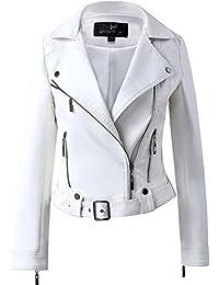 Womens white leather biker jacket