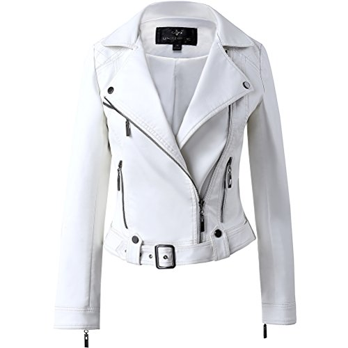 White Leather Biker Jacket - 4
