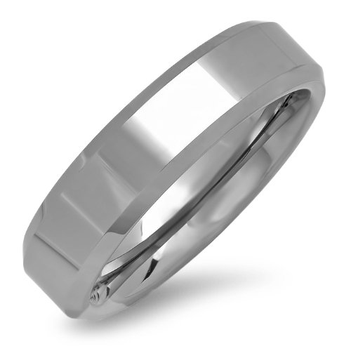 6 Mm Beveled Edge (6mm Beveled Edge Comfort Fit Tungsten Carbide Wedding Band ( Available Ring Sizes 8-12 1/2) sz 10 1/2)
