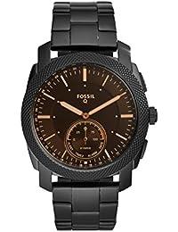 Q Men's Machine Stainless Steel Hybrid Smartwatch, Color: Black (Model: FTW1165)