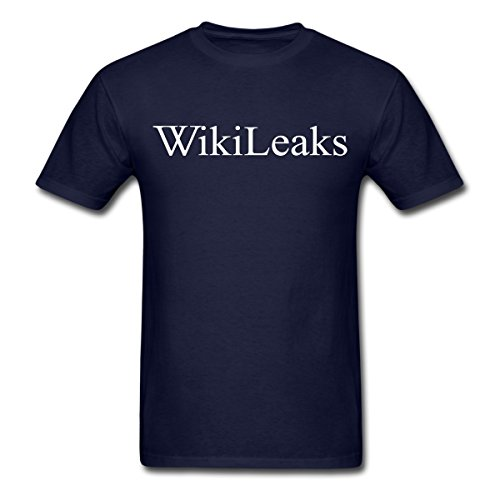 WikiLeaks Text Logo Men's T-Shirt by Spreadshirt, M, navy
