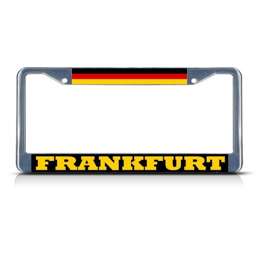 Jesspad Personalized GERMANY FRANKFURT Chrome Heavy Duty Metal License Plate Frame Tag Border,Frame Cover Gills