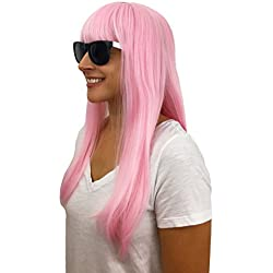 """Hisilli 4 pc. 20"""" Pink Bob Wig for Women and Girls: Women's Extra Long Bob Wig Colorful Party Halloween Costume Daily Synthetic Cosplay Flat Bangs and White/Black Sunglasses"""