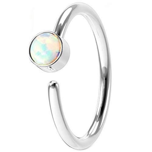 Annealed(Bendable) Synthetic Opal Steel Nose Ring Hoop (20G 5/16