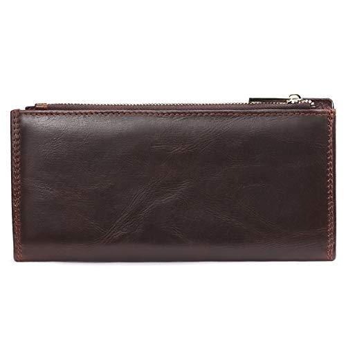 Portefeuilles Capacité En Double Bifold Zipper Wallet Véritable X Cuir Mens Grande Brown Long Pochette Portefeuille xya Poignet Casual black t676aq8