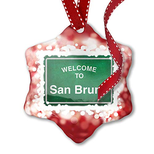 NEONBLOND Christmas Ornament Green Road Sign Welcome to San Bruno, ()