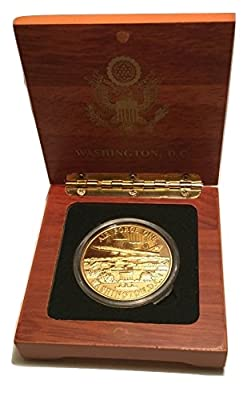 Air Force One Coin with Presidential Seal in Wood Box - Washington DC Souvenir