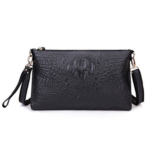 SEALINF Women's Genuine Leather Handbag Clutch Shoulder Bag Alligator Crossbody (black)